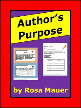 $1 Author's Purpose Task Cards