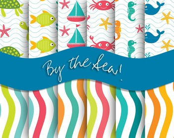 $1 By the Sea! By the Sea! Backgrounds and Digital Papers and Patterns