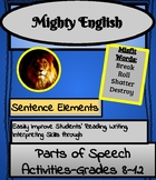 Mighty English--Sentence Elements: Parts of Speech Activities-Grades 8-12