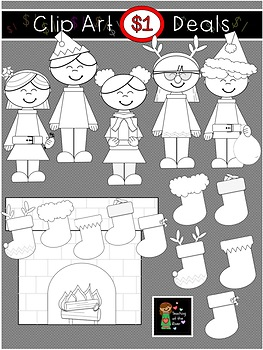 $1 Christmas Kids - Stocking - Fireplace Clip Art Dollar Deal 10