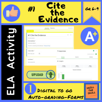 #1 Cite the Evidence - Self Grading Google Form Activity   Digital to Go!