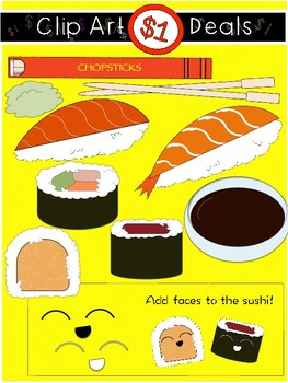 $1 Cute Sushi and Chopsticks Clip Art DOLLAR DEAL 17