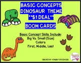 Basic Concepts Dinosaur Themed BOOM CARDS $1 Deal