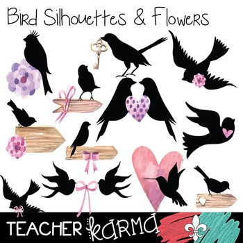 {$1 DEAL} Bird Silhouettes & Flowers Clipart ~ Commercial Use OK