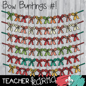 {$1 DEAL} Bow Buntings Clipart ~ Banners  ~ Commercial Use OK