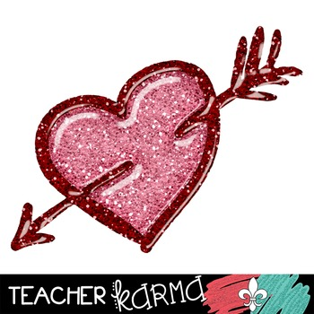 Hearts, Hearts, Hearts GLITTER Clipart ~ Commercial OK ~ Valentine's