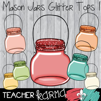 {$1 DEAL} Mason Jars with GLITTER Tops #1 Clipart ~ Commer