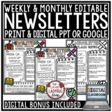 Editable Print & Digital Classroom Weekly Newsletter Templ
