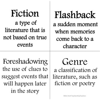 Word Wall : Literary Terms PLUS