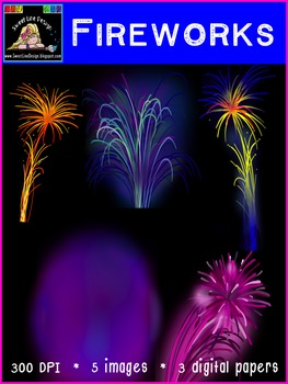 New Years Fireworks and Digital Papers {Sweet Line Design Clipart}