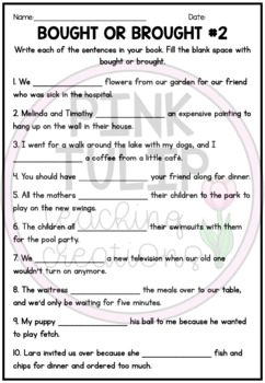 $1 Deals - Bought or Brought Worksheets