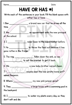 $1 Deals - Have or Has Worksheets
