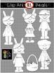 $1 Easter Bunny Kids and Basket Clip Art DOLLAR DEAL 16