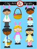 $1 Easter Bunny Kids and Basket Clip Art DOLLAR DEAL 16