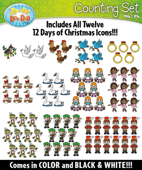 12 Days of Christmas Counting and Ten Frames Math Clipart {Zip-A-Dee-Doo-Dah Des