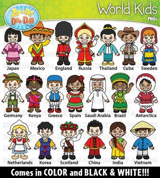 World Kid Characters Clipart Set 1 {Zip-A-Dee-Doo-Dah Designs}