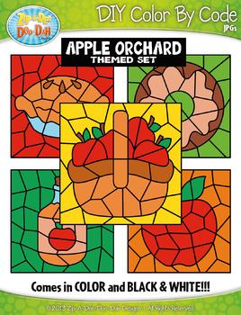 Apple Orchard Color By Code Clipart {Zip-A-Dee-Doo-Dah Designs}