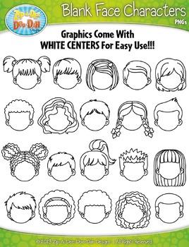 Blank Face Kid Characters Clipart {Zip-A-Dee-Doo-Dah Designs}