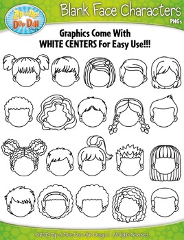 Blank Face Kid Characters Clipart Set — Includes 20 Graphics!