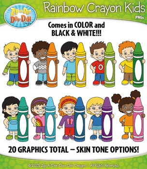 Rainbow Crayon Kid Characters Clipart — Includes 20 Graphics!