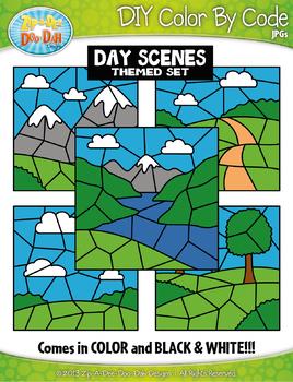 Day Background Scenes Color By Code Clipart {Zip-A-Dee-Doo-Dah Designs}