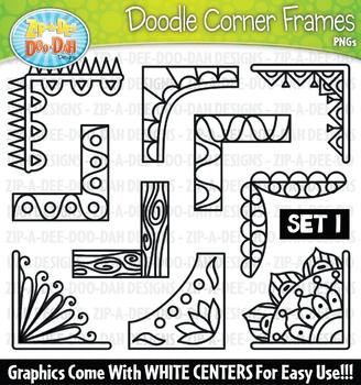 Doodle Corner Frames Clipart Set 1 {Zip-A-Dee-Doo-Dah Designs}