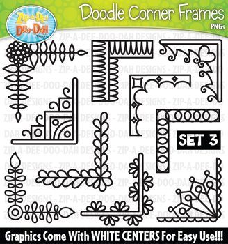 Doodle Corner Frames Clipart Set 3 {Zip-A-Dee-Doo-Dah Designs}