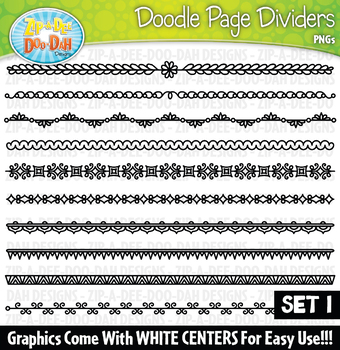 Doodle Page Divider Clipart Set 1 {Zip-A-Dee-Doo-Dah Designs}