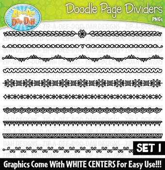 Doodle Page Divider Clipart Set 1 — Includes 10 Graphics!