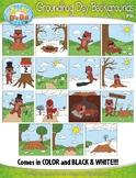 Groundhog Day Background Scenes Clipart {Zip-A-Dee-Doo-Dah Designs}