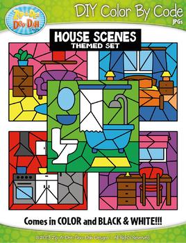 House Background Scenes Color By Code Clipart {Zip-A-Dee-Doo-Dah Designs}