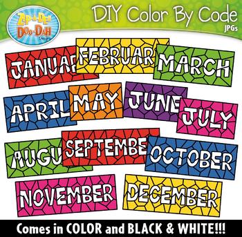 MONTH TITLES WORDS Color By Code Clipart {Zip-A-Dee-Doo-Dah Designs}