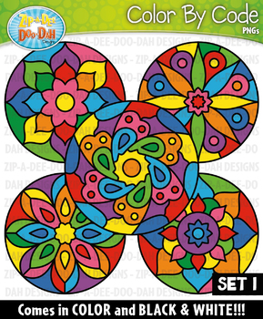 Mandalas Color By Code Clipart Set 1 {Zip-A-Dee-Doo-Dah Designs}