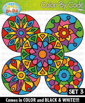 Mandalas Color By Code Clipart Set 3