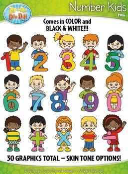 Number Kid Characters Clipart {Zip-A-Dee-Doo-Dah Designs}
