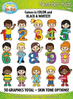 Rainbow Math Number & Symbol Kid Characters Clipart — Incl