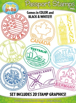 Passport Stamps Clipart Set 1 — Includes 80 Graphics!