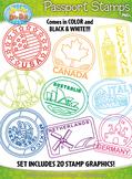 Passport Stamps Clipart Set 1 — Includes 60 Graphics!