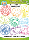 Passport Stamps Clipart Set 1 {Zip-A-Dee-Doo-Dah Designs}