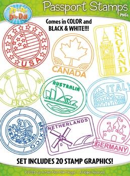 Passport Stamps Clipart Set 1