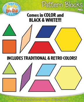 Pattern Block Shapes Clipart {Zip-A-Dee-Doo-Dah Designs}