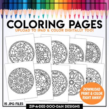 Printable Fall Mandala Coloring Pages Zip A Dee Doo Dah Designs