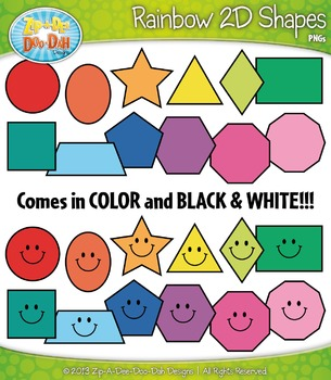 Rainbow Shapes Clipart {Zip-A-Dee-Doo-Dah Designs}