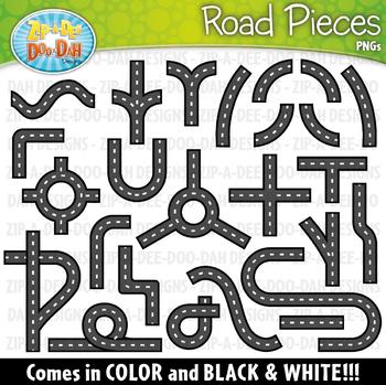 Road Pieces Clipart {Zip-A-Dee-Doo-Dah Designs}