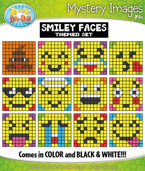 SMILEY FACES Create Your Own Mystery Images Clipart Set