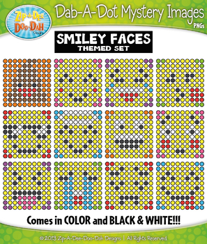 SMILEY FACES Dab-A-Dot Mystery Images Clipart {Zip-A-Dee-Doo-Dah Designs}