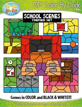 School Background Scenes Color By Code Clipart {Zip-A-Dee-Doo-Dah Designs}