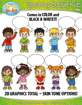 Speaking Bubble Kid Characters Clipart — Includes 20 Graphics!