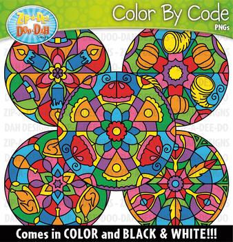 Thanksgiving Mandalas Color By Code Clipart {Zip-A-Dee-Doo-Dah Designs}