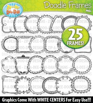 Thin Doodle Frames Clipart Set 2 {Zip-A-Dee-Doo-Dah Designs}